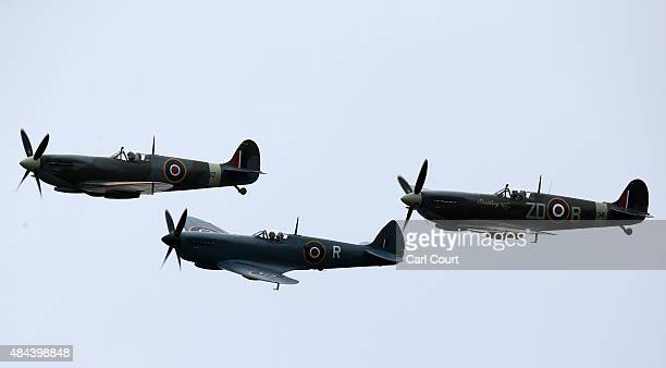 Spitfires and Hurricanes perform a fly past on August 18, 2015 in Biggin Hill, England. Aircraft including 18 Spitfires and six Hurricanes flew over...