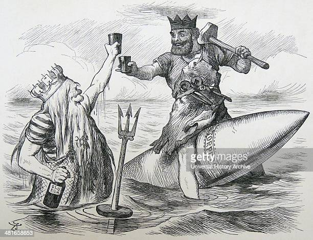 Spithead naval review Neptune and Vulcan riding a Whitehead torpedo toasting Queen Victoria at the time of her Golden Jubilee review of the fleet...