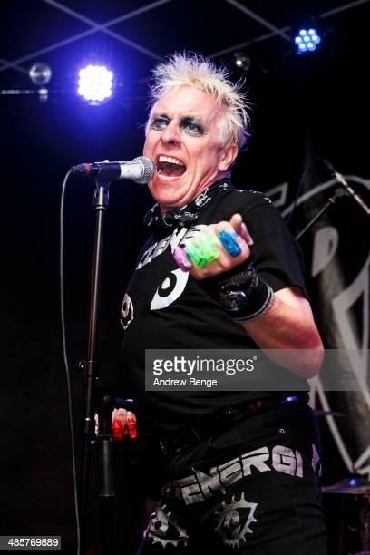 Spizz of Spizzenergi performs on stage at Brudenell Social Club on April 20, 2014 in Leeds, United Kingdom.