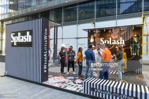 Splash CEO Raza Beig speaks with guests attending Day 1 of the FFWD October Edition 2019 at the Dubai Design District on October 31 2019 in Dubai...