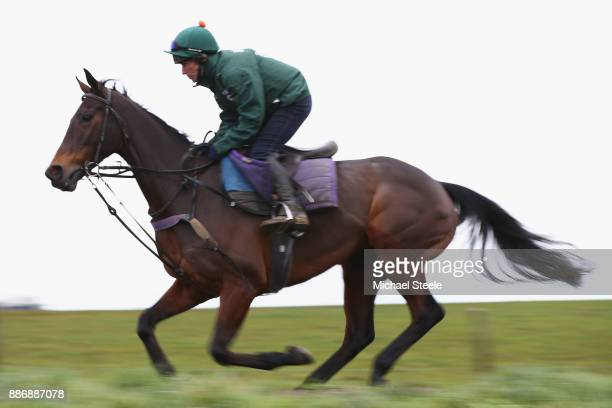 Splash of Ginge works out on the polytrack gallop during a stable visit to the yard of national hunt trainer Nigel TwistonDavies at Grange Hill Farm...