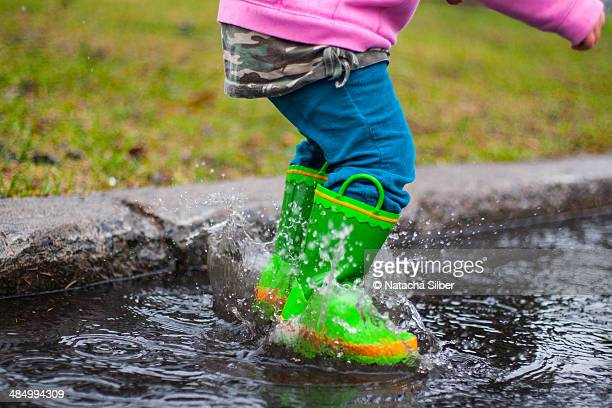 Splashing in puddle