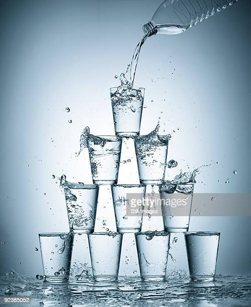 Splashing water glasses