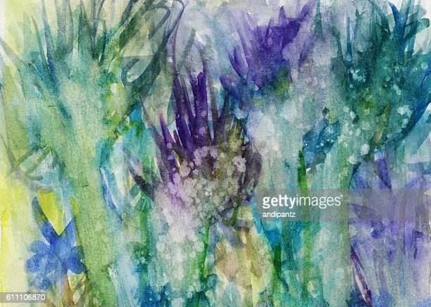 Splattered hand painted floral background