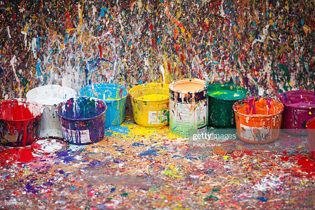 Splattered paint and pots, San Telmo, Buenos Aires, Argentina : Stock Photo