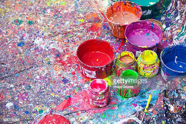 Splattered paint and pots, San Telmo, Buenos Aires, Argentina