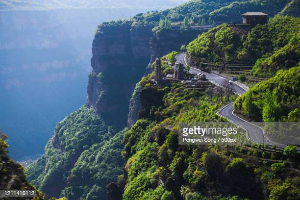 splendid aerial view of road through south taihang mountain, china - 太行山脈 ストックフォトと画像