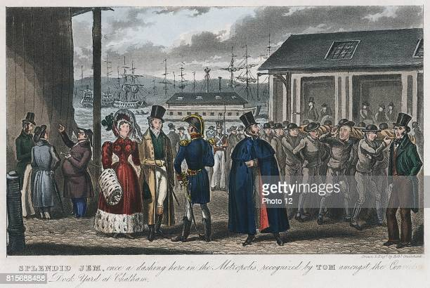 Splendid Jem' once a dashing hero in the Metropolis recognised by Tom amongst the convicts in the Naval Dock Yard at Chatham Illustration by Robert...