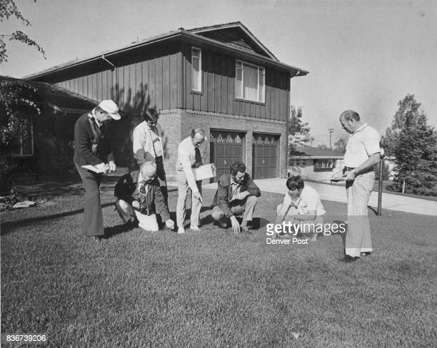 Splendor in the Grass Judges give scrupulous attention to a lawn in the sweepstakes phase of the 1976 Denver PostWestern Federal Savings...