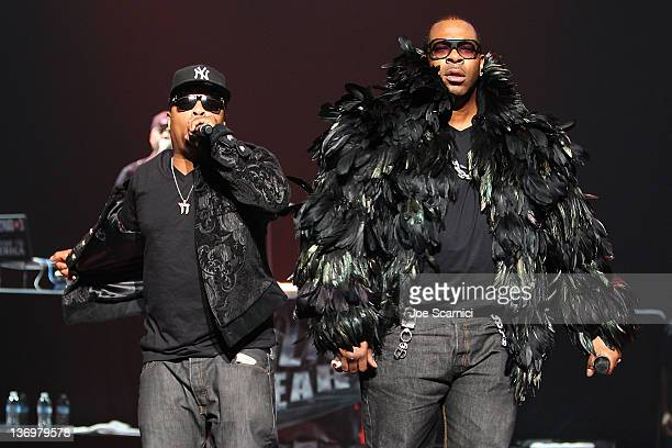 Spliff Star and Busta Rhymes perform at Rick Ross Busta Rhymes Eric Bellinger In Concert at Nokia Theatre LA Live on January 13 2012 in Los Angeles...