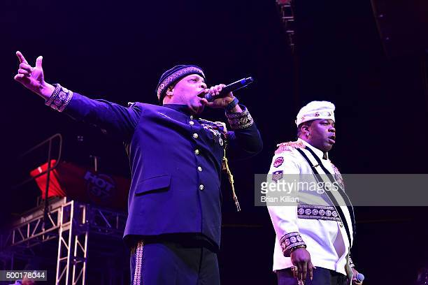 Spliff Star and Busta Rhymes perform at The Conglomerate And Hot 97 Present 'Busta Rhymes And Friends Hot For The Holiday' show at Prudential Center...