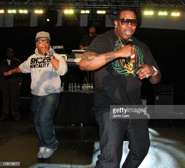 Spliff Star and Busta Rhymes perform at the Homecoming Concert at Pace University on October 13 2011 in New York City