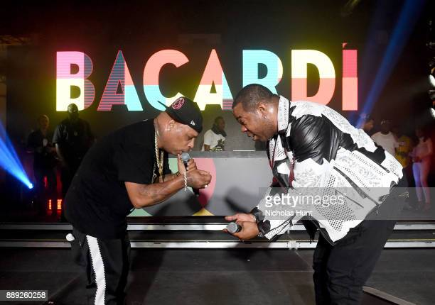 Spliff Star and Busta Rhymes perform onstage during BACARDI Swizz Beatz and The Dean Collection bring NO COMMISSION back to Miami to celebrate...