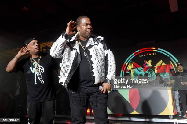 Spliff Star and Busta Rhymes perform onstage during BACARDI Swizz Beatz and The Dean Collection bring NO COMMISSION back to Miami to celebrate Island...
