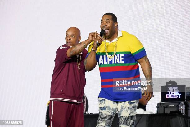 Spliff Star and Busta Rhymes perform onstage during the 'On The Run II' Tour at Rose Bowl on September 22 2018 in Pasadena California