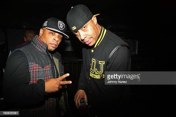 Spliff Star and DJ Scratchator attend the Greenhouse New York Super Sunday NOLA After Party at Jackson Brewery Bistro Bar on February 3 2013 in New...