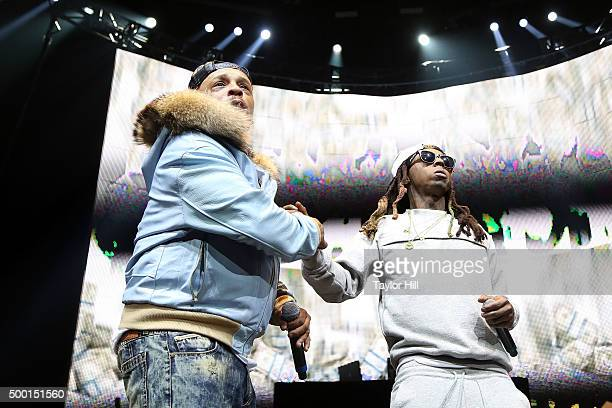 """Spliff Star and Lil Wayne perform during Hot 97's """"Busta Rhymes and Friends: Hot for the Holidays"""" at Prudential Center on December 5, 2015 in..."""