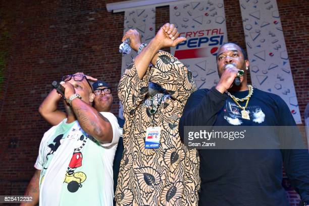 Spliff Star DJ Kool Herc and Busta Rhymes perform at Crystal Pepsi Throwback Tour with Busta Rhymes at Billy's Sports Bar on August 1 2017 in Bronx...