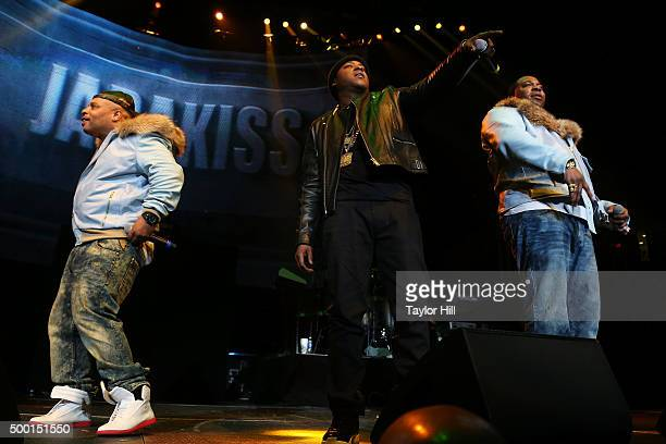 """Spliff Star, Jadakiss and Busta Rhymes perform during Hot 97's """"Busta Rhymes and Friends: Hot for the Holidays"""" at Prudential Center on December 5,..."""