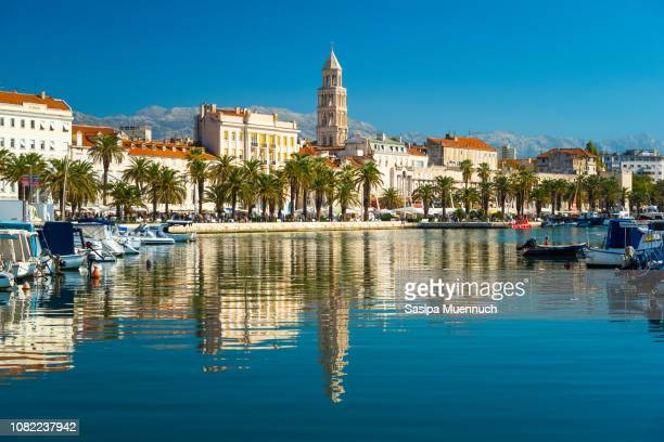 split and diocletian's bell tower reflection - croatia stock pictures, royalty-free photos & images