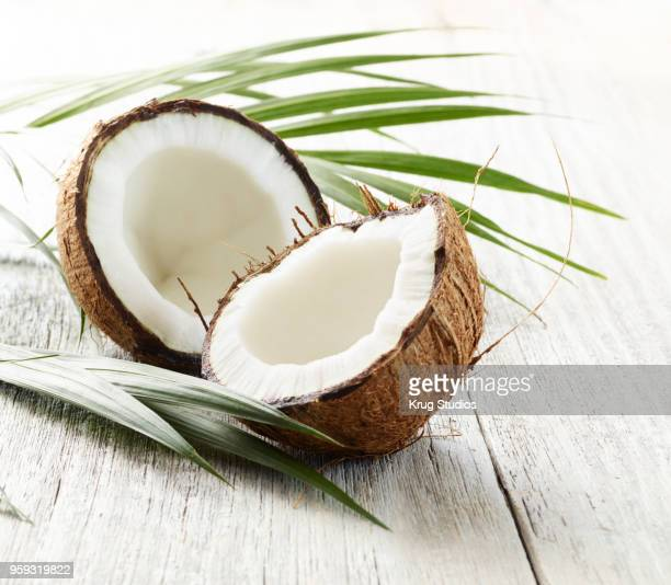 split coconut - coconut oil stock pictures, royalty-free photos & images