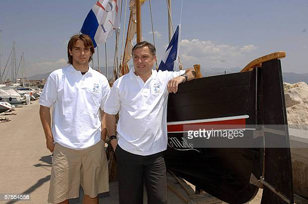 A picture taken 27 May 2005 in Split shows Niko Kranjcar young Hajduk Split midfielder and his father Zlatko Croatia's national football team coach...