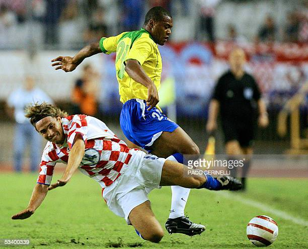 Ricardo Oliveira of Brazil fights for the ball with Dario Simic of Croatia during their friendly football match Croatia/Brazil at the Hajduk stadium...