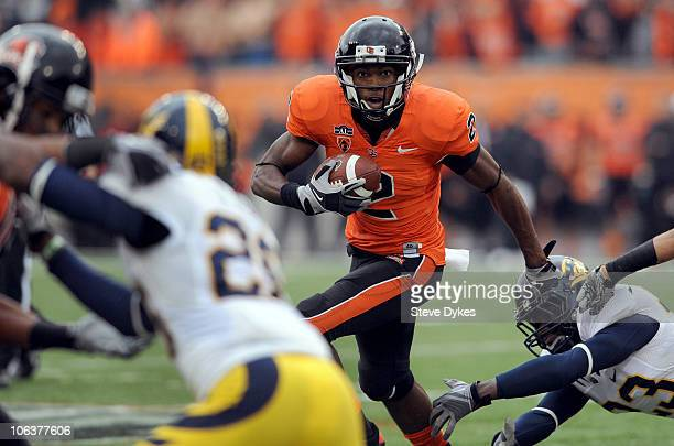 Split end Markus Wheaton of the Oregon State Beavers looks for some running room in the second quarter of the game against the California Golden...