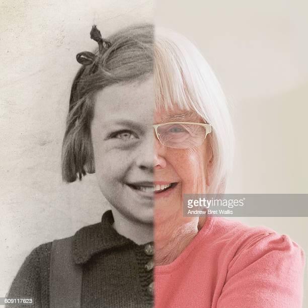 Split frame of senior woman against younger self