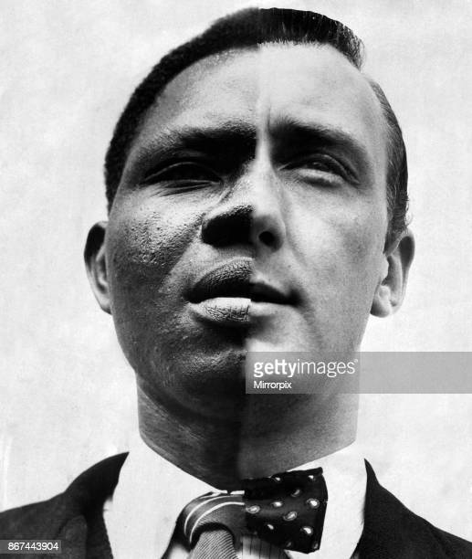 A split headshot portrait of a black man and a white man Used in the Daily Mirror on the 6th September 1958 to illustrate a series written by Keith...