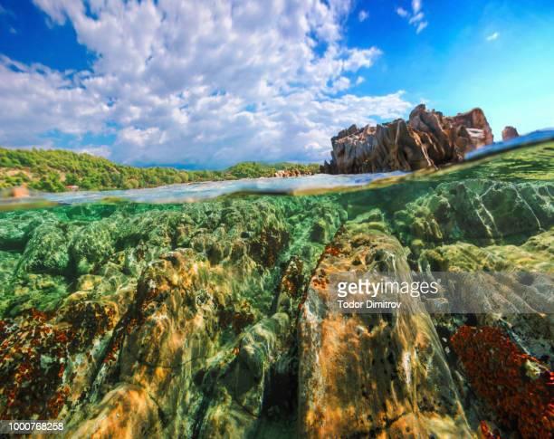 Split Level Rocks Formation And Blue Sky