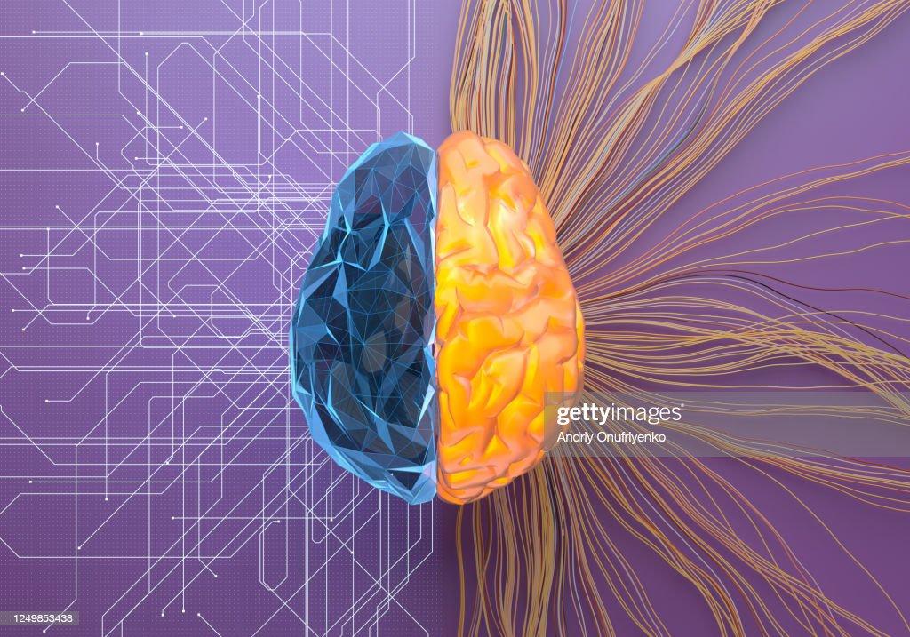 Split net/turbulence artificial brain : Stock Photo