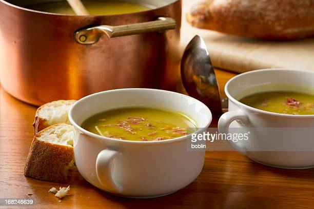 split pea and ham soup - soup stock pictures, royalty-free photos & images
