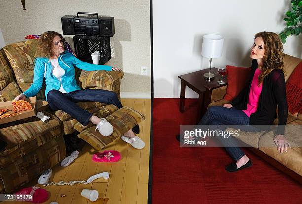 split personality - very ugly women stock photos and pictures