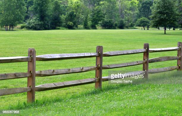 split rail fence along a grass field - pasture stock pictures, royalty-free photos & images