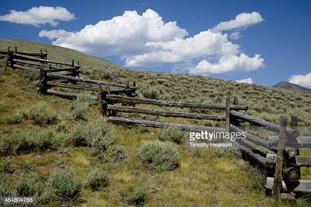 split rail fence on hillside with sagebrush - timothy hearsum ストックフォトと画像