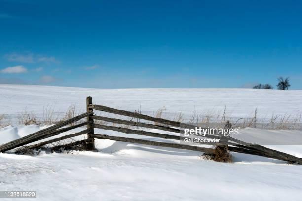 Split Rail Fence, Winter Clear Sky
