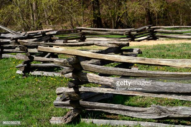Split rail fences at Mount Vernon the plantation owned by George Washington the first President of the United States in Fairfax County Virginia near...