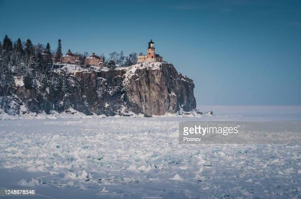 split rock lighthouse in the winter - minnesota stock pictures, royalty-free photos & images