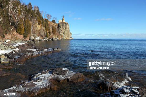 Split Rock Lighthouse (1910) on Lake Superior in winter