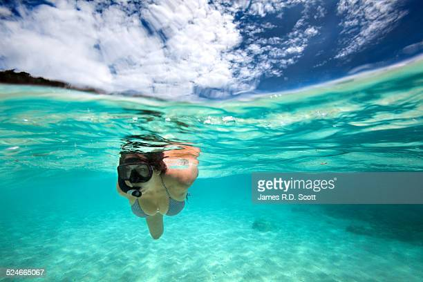Split shot of female snorkeler