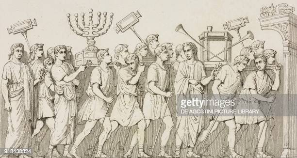 Spoils of Jerusalem temple basrelief of the arch of Titus in Rome Italy engraving of Lemaitre and Vernier from Palestine Description Geographique...