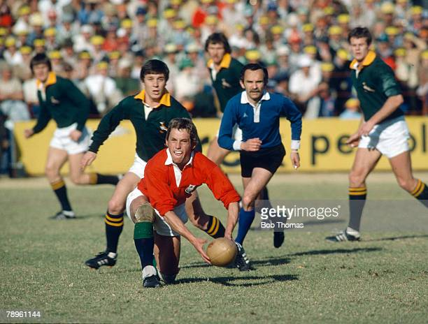 1980 4th Test in Pretoria South Africa 13 v British Lions 17 John RobbieBritish Lions prepares to pass the ball
