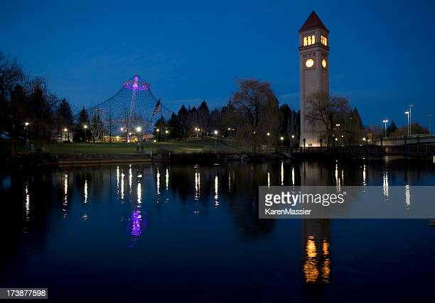 spokane at night - spokane stock pictures, royalty-free photos & images