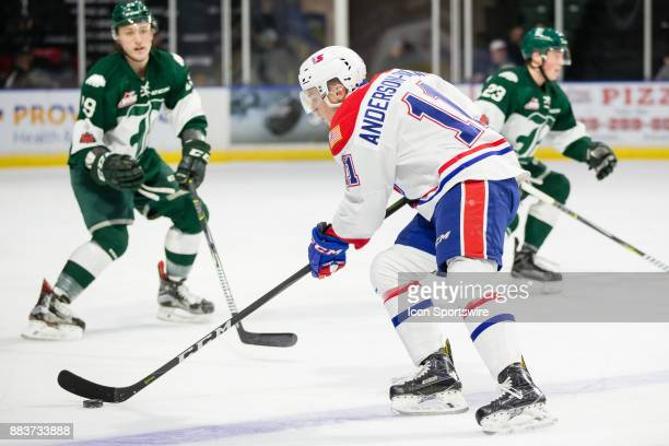 Spokane Chiefs forward Jaret AndersonDolan skates over the blue line during a game between the Spokane Chiefs and the Everett Silvertips on Friday...