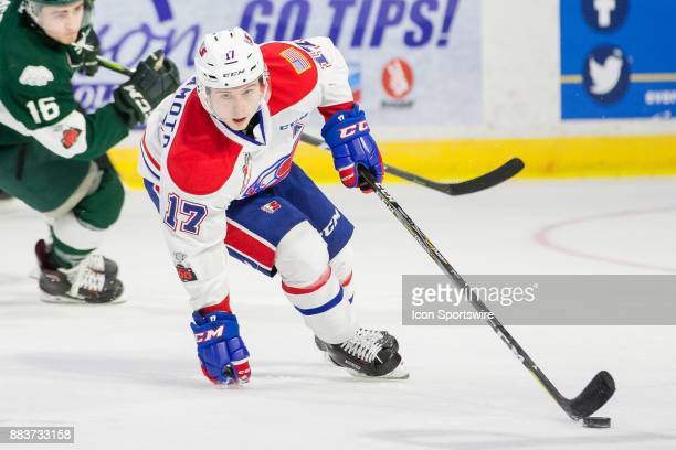 Spokane Chiefs forward Kailer Yamamoto makes a tight turn with the puck during a game between the Spokane Chiefs and the Everett Silvertips on Friday...