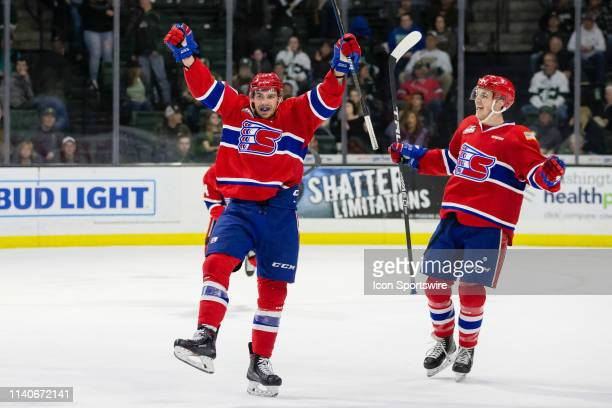 Spokane Chiefs forward Luc Smith celebrates a third period goal during Game 2 of the playoff series between the Everett Silvertips and the Spokane...