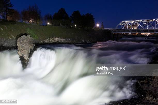 spokane falls at night - riverfront park spokane stock photos and pictures