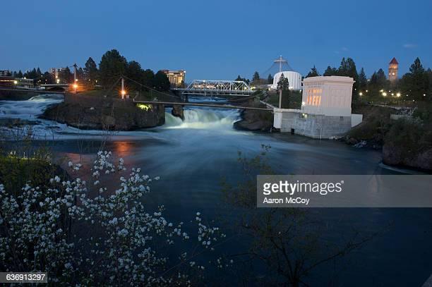 spokane falls through riverfront park - riverfront park spokane stock photos and pictures