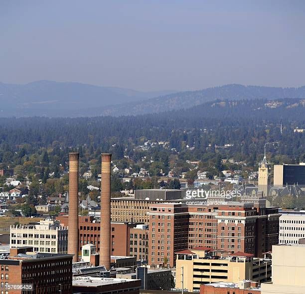 spokane skyline with steam plant square - spokane stock pictures, royalty-free photos & images